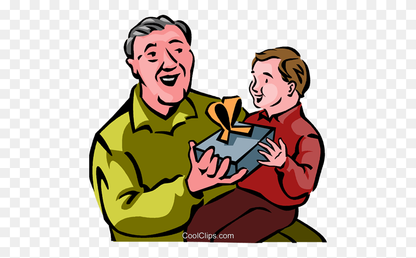 Grandfather Giving A Gift To His Grandson Royalty Free Vector Clip - Gift Giving Clipart