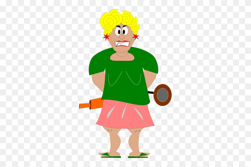 Graphics Of Angry Housewife With A Rolling Pin - Rolling Pin Clipart