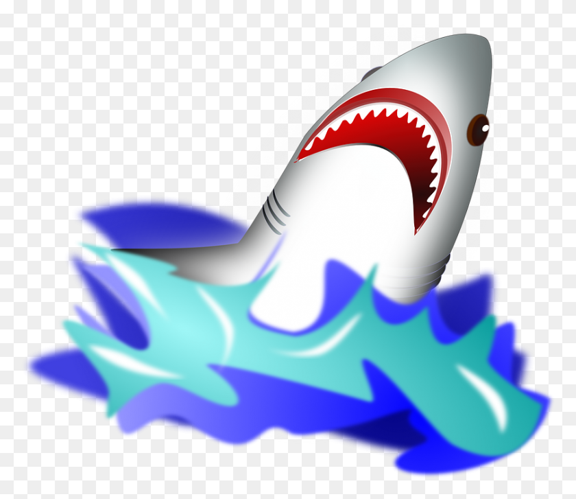 Great White Shark Clipart Under Sea - Sea Life Clipart