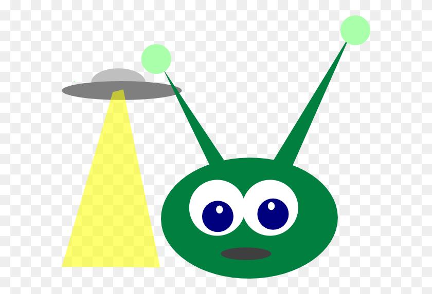 Green Alien With Ufo Clip Art - Ufo Clipart