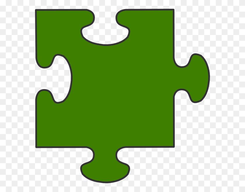 Green Border Puzzle Piece Clip Art - Green Border Clipart