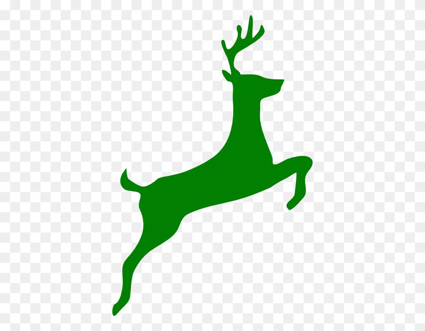 Green Deer Silhouette Clip Art - Whitetail Deer Clipart