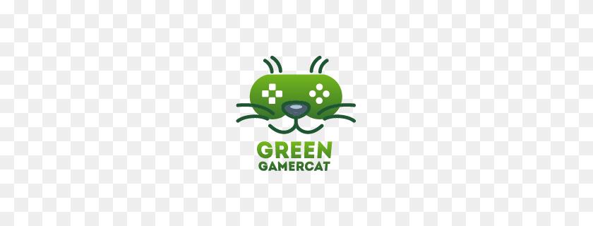 Green Gamer Cat Logo Designed - Cat Logo PNG