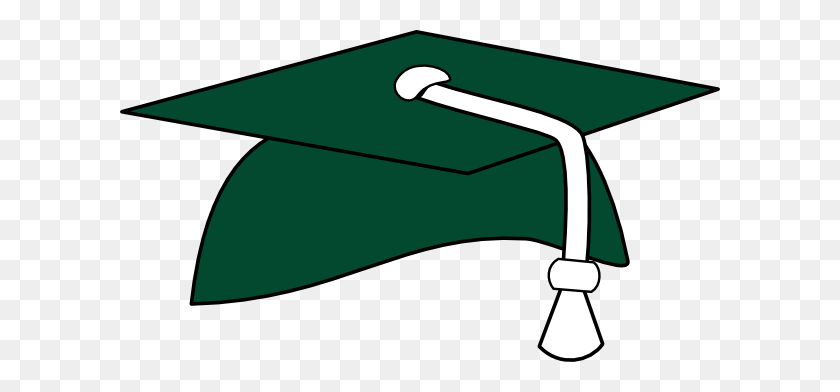 Green Graduation Cap White Tassel Clip Art - White Graduation Cap Clipart
