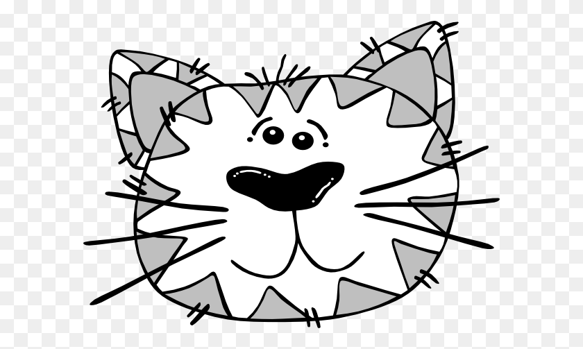 Grey And White Cat Face Clip Arts Download - Black And White Clipart Cat