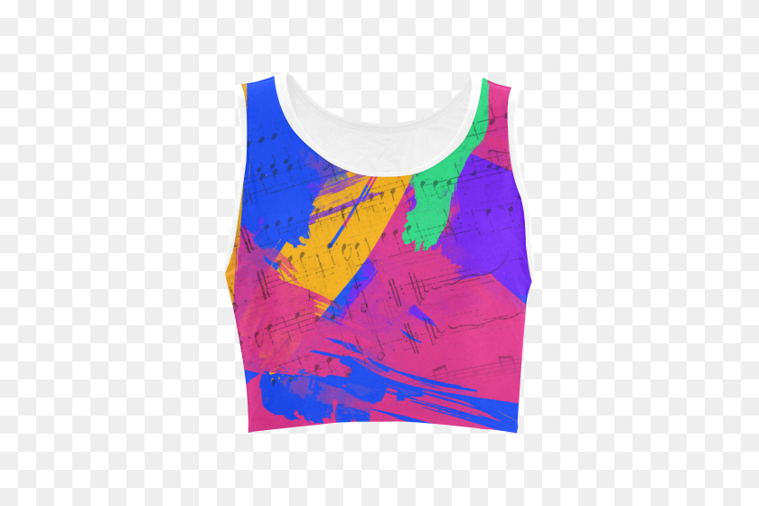 Groovy Paint Brush Strokes With Music Notes Women's Crop Top - Paint Brush Stroke PNG