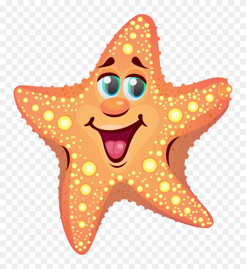 Guppy Cartoon Starfish - Starfish Black And White Clipart