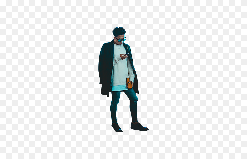 Guy Standing On Smartphone Architecture People - People Standing PNG