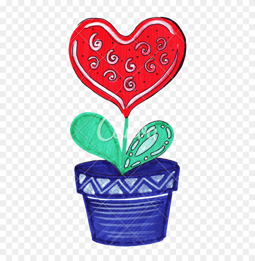 Hand Drawn Markers And Paints Of A Heart Drawn - Hand Drawn Heart Clipart