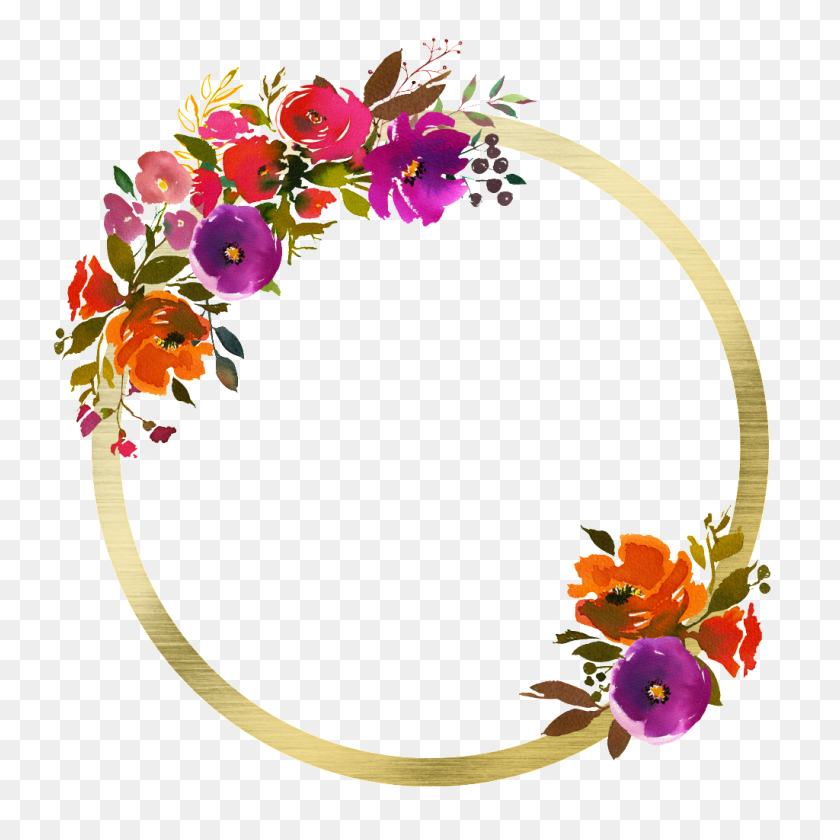 Hand Painted Floral Png Transparent On Gold Circle Free Png - Painted Circle PNG