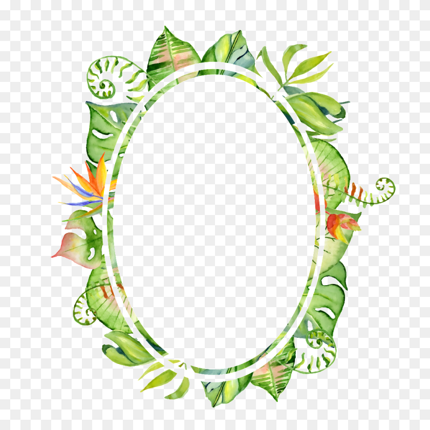 Hand Painted Leaf Pattern Frame Png Transparent Free Png - Painted Circle PNG