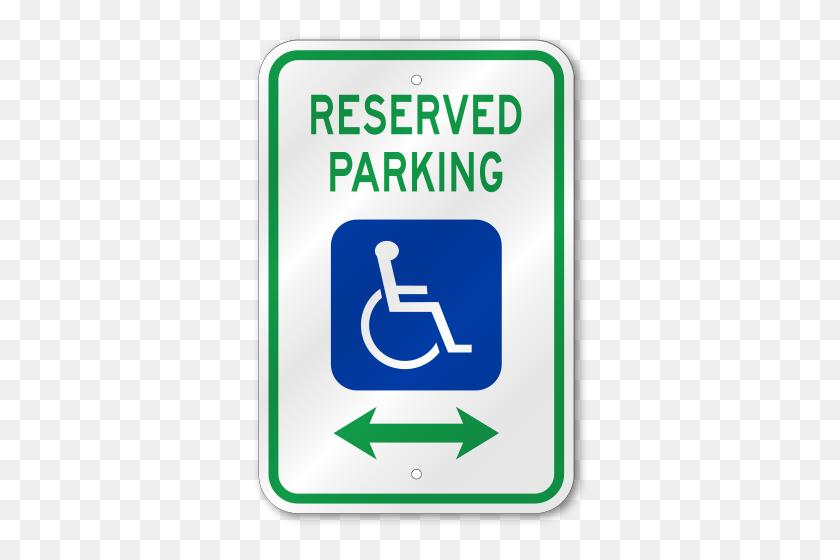 Handicap Reserved Parking Dual Arrow Sign - Handicap Sign PNG