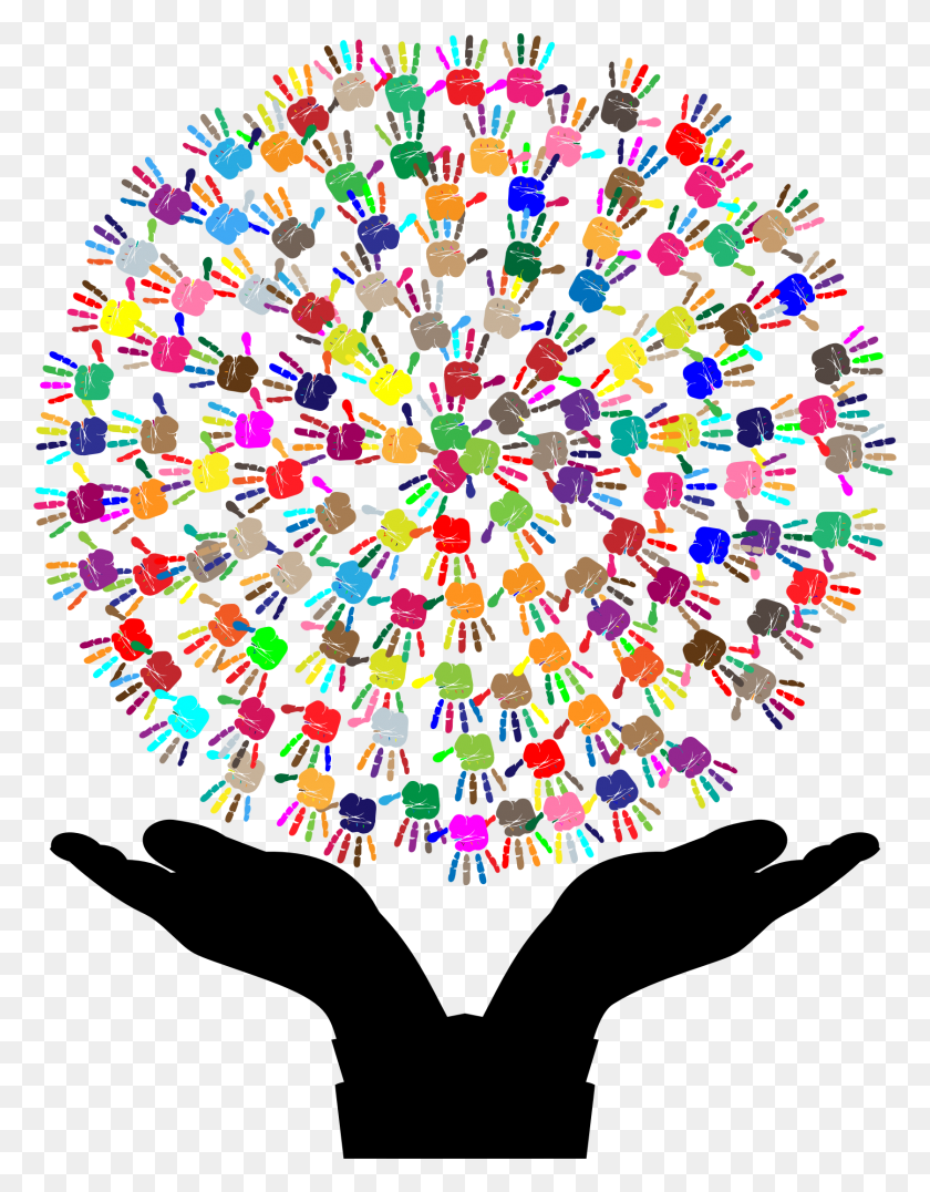 Hands Holding Up Tree Of Hands Vector Clipart Image - Marimba Clipart