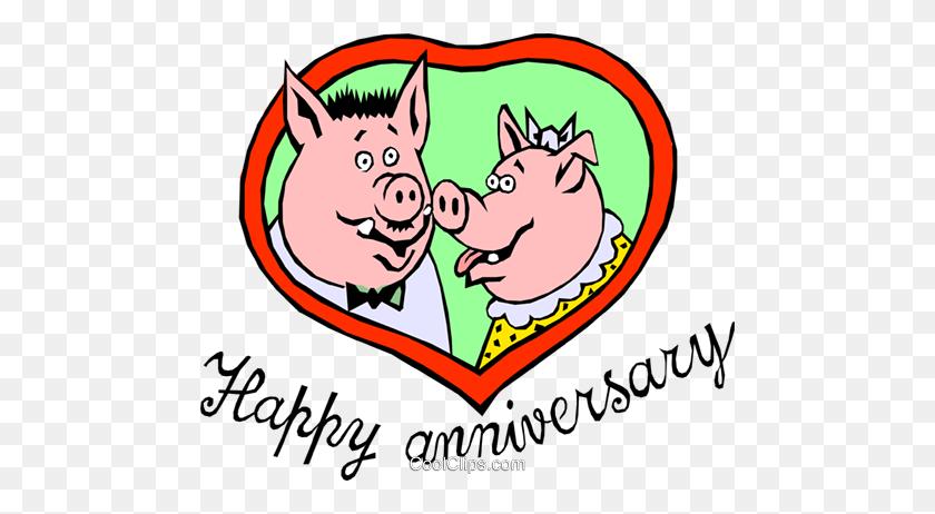 Happy Anniversary Pigs Royalty Free Vector Clip Art Illustration - Free Clip Art Anniversary
