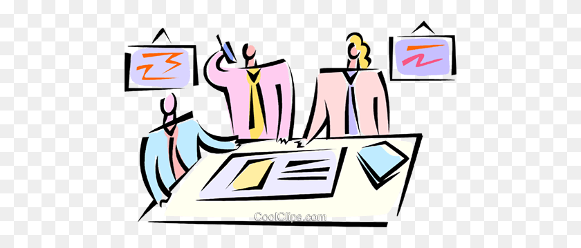 480x299 Having A Meeting Royalty Free Vector Clip Art Illustration - Meeting Clipart Free