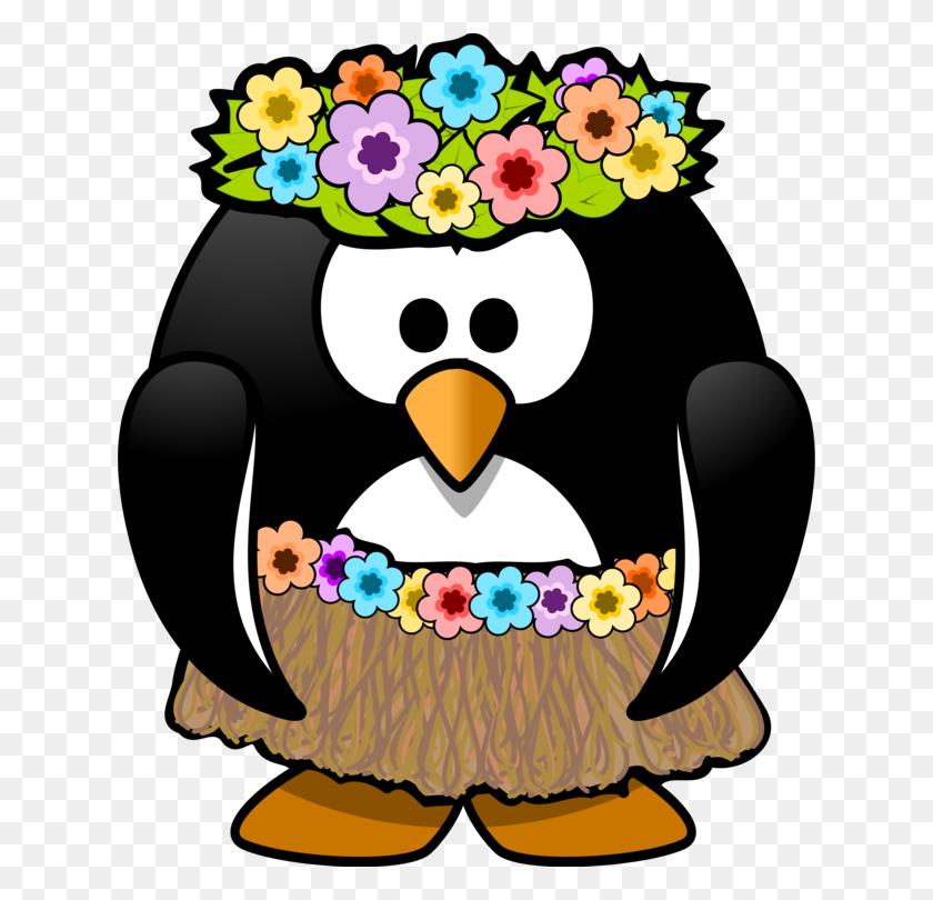 628x750 Hawaii Penguin Hula Aloha Luau - Luau Clipart