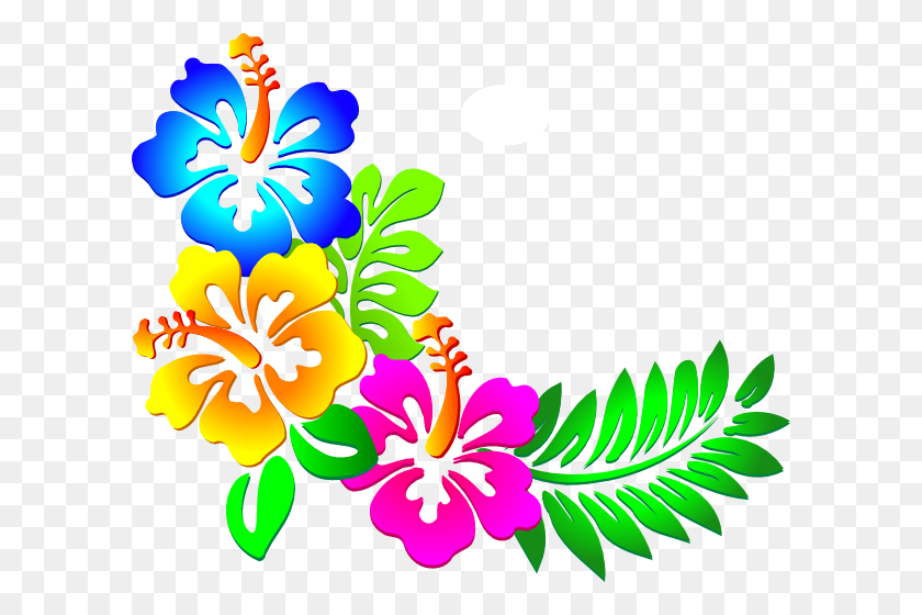 600x500 Hawaiian Flower Clip Art Borders - Luau Images Clipart