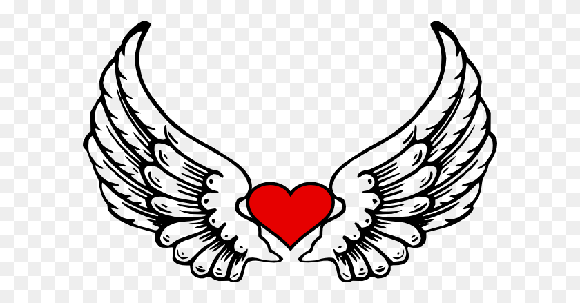 Heart Clipart Drawing Angel Wings Png Transprent Png - Angel Wings PNG