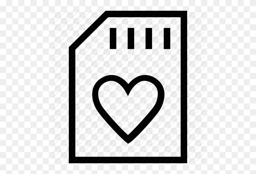 Heart, Heart Memory, Heart Shape, Memory, Memory Card, Sim Card Icon - In Loving Memory PNG