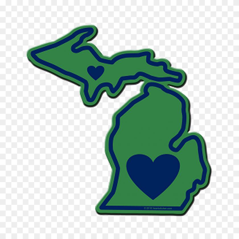 Heart In Michigan Mi Sticker,all Weather High Quality Vinyl - Michigan Clip Art