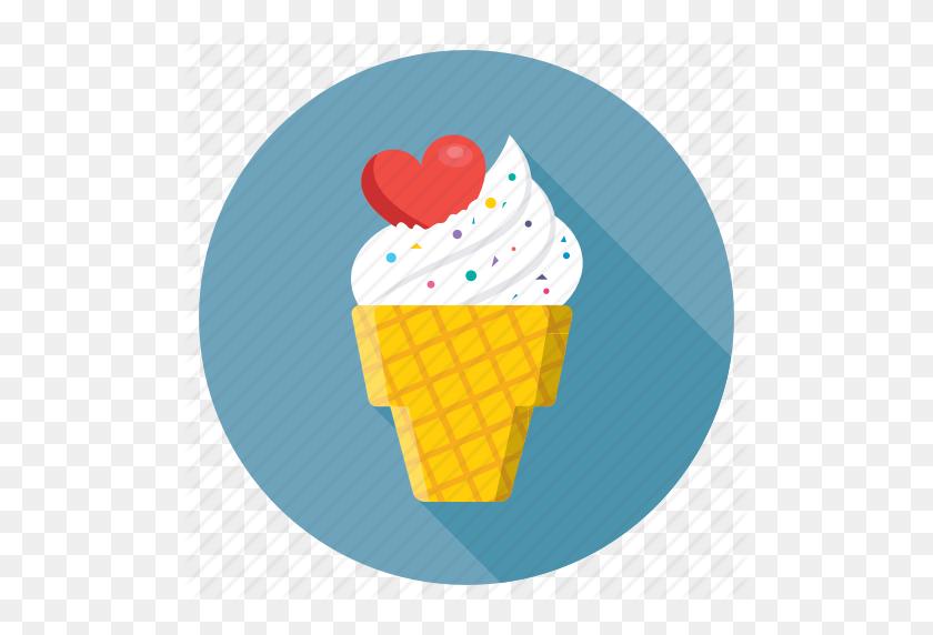 Heart On Ice Cone, Ice Cone, Ice Cream, Romantic, Snow Cone Icon - Snow Cone PNG