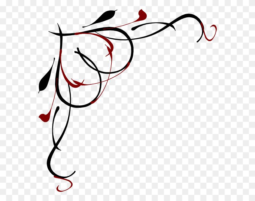 Heart Vine Corner Red And Black Clip Art - Vine Clipart ...