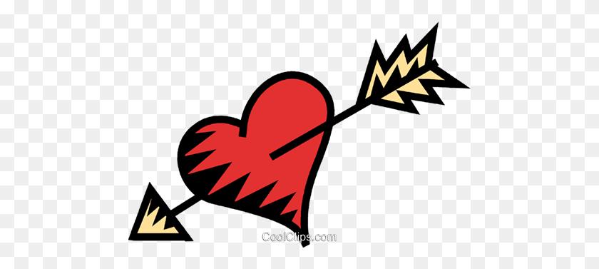 Heart With An Arrow Through It Royalty Free Vector Clip Art - Heart With Arrow Clipart