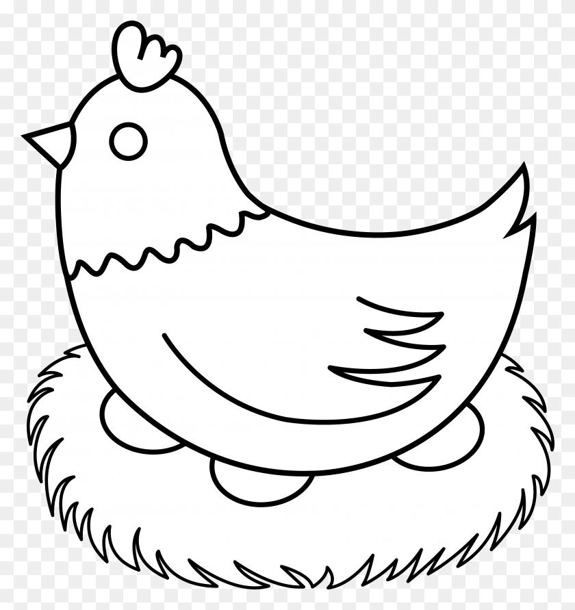 3610x3848 Hen With Nest Line Art - Nest Clipart