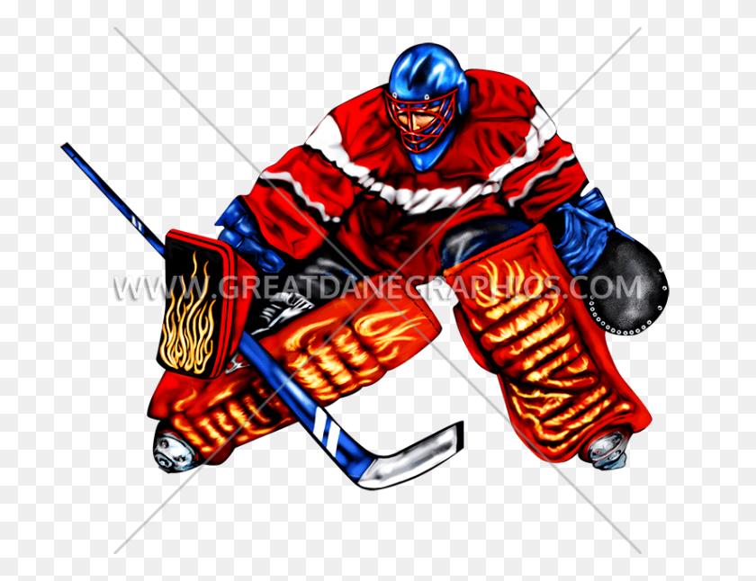 Hockey Goalie Block Production Ready Artwork For T Shirt Printing - Hockey Goalie Clipart