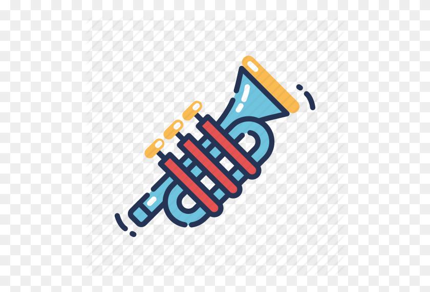 Horn, Instrument, Mardi Gras, Music, Trumpet Icon - Mardi Gras Beads Clip Art