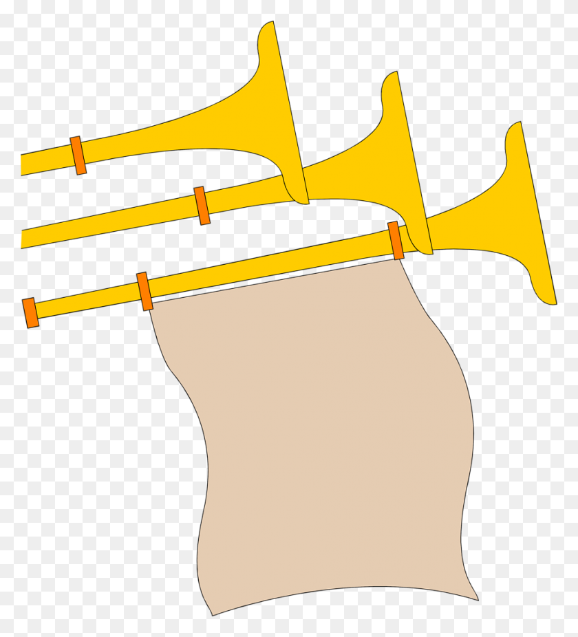 Horns Free Stock Photo Illustration Of Golden Horns - Blank Banner Clipart