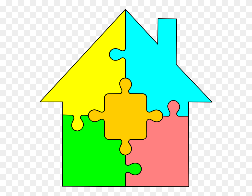576x594 House Puzzle Clip Art - Front Porch Clipart
