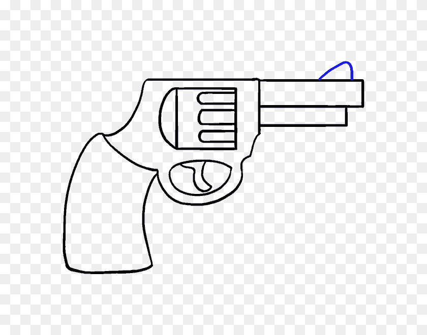 How To Draw A Cartoon Revolver In A Few Easy Steps Easy Drawing - Pistol Clipart Black And White