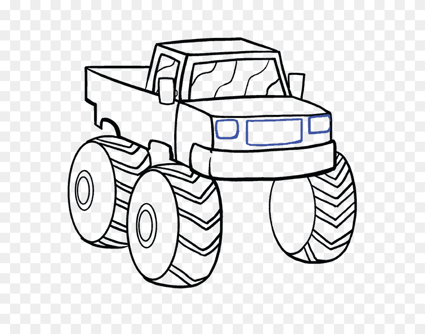 How To Draw A Monster Truck In A Few Easy Steps Easy Drawing Guides - Monster Jam PNG