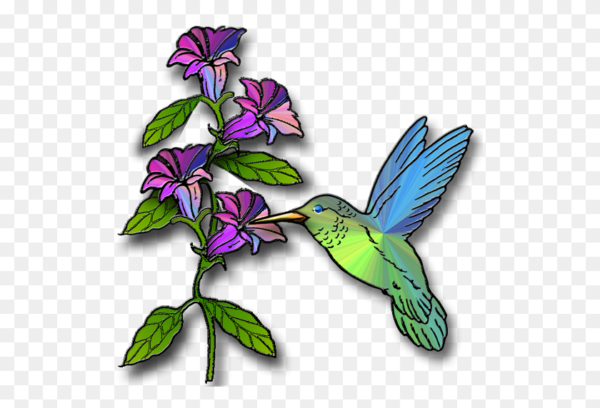 Hummingbird With Flowers Clipart - Christmas Bazaar Clipart