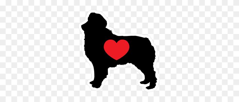 I Love My Australian Shepherd Silhouette With Heart Sticker - Australian Shepherd Clipart