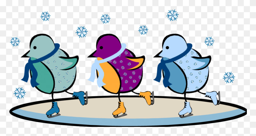 Ice Skating Clipart - Winter Animals Clipart