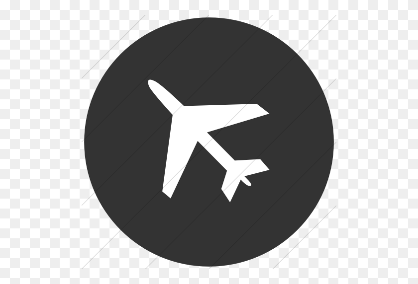 Iconsetc Flat Circle White On Dark Gray Classica Airplane Icon - Gray Circle PNG