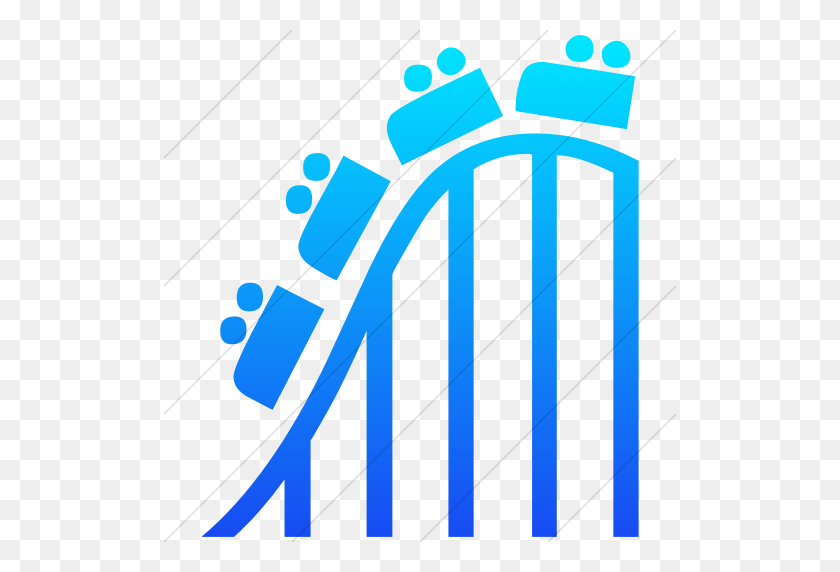 Iconsetc Simple Ios Blue Gradient Classica Roller Coaster Icon - Roller Coaster Clipart