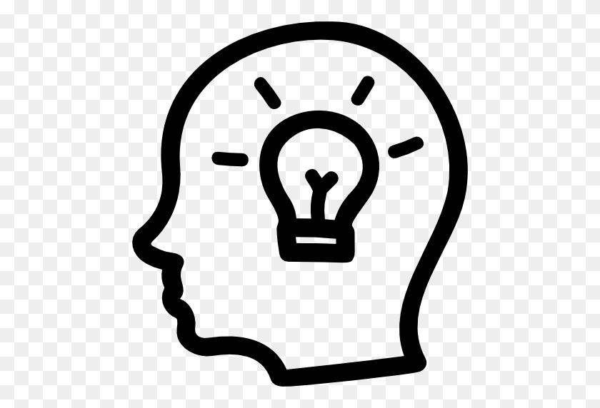 Idea Hand Drawn Symbol Of A Side Head With A Lightbulb Inside - Lightbulb Icon PNG