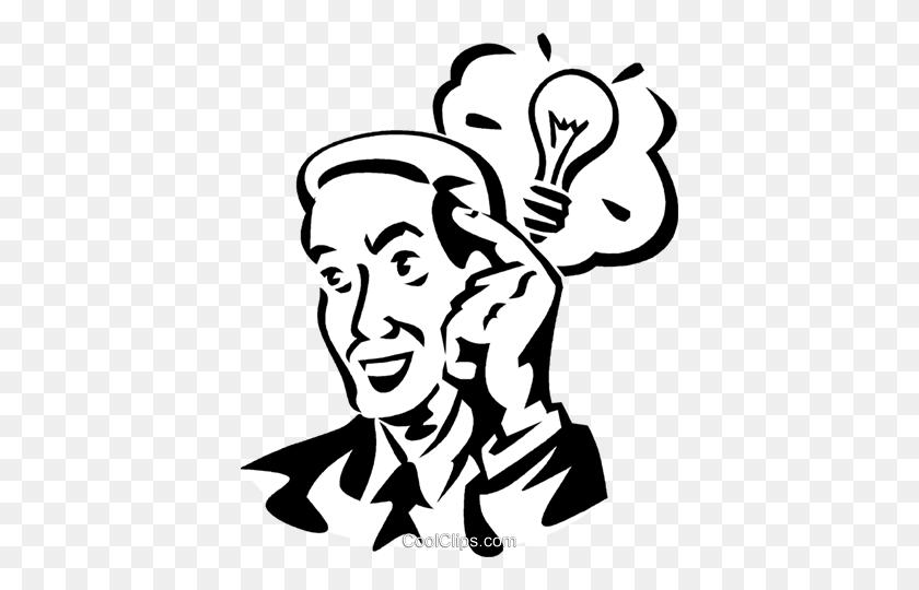 Idea Light Bulb Royalty Free Vector Clip Art Illustration - Light Bulb Clipart Black And White