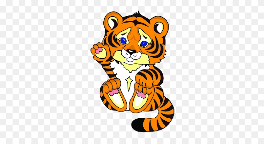 Ideal Cute Tiger Clipart Clip Art Of Cute Tiger Cub Holding Heart K - Tiger Cub Clipart