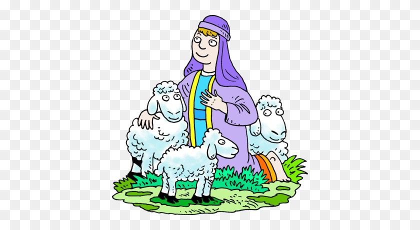 Image Kneeling Shepherd In Purple Robe With His Sheep Shepherd - Sheep Clipart