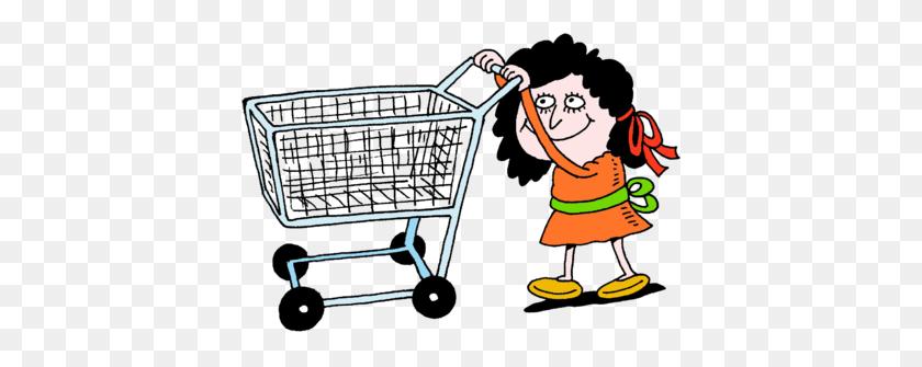 Image Woman Pushing Empty Shopping Cart - Woman Shopping Clipart