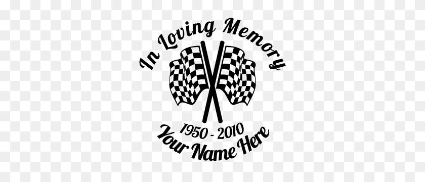 In Loving Memory Racing Flags Sticker - In Loving Memory Clipart