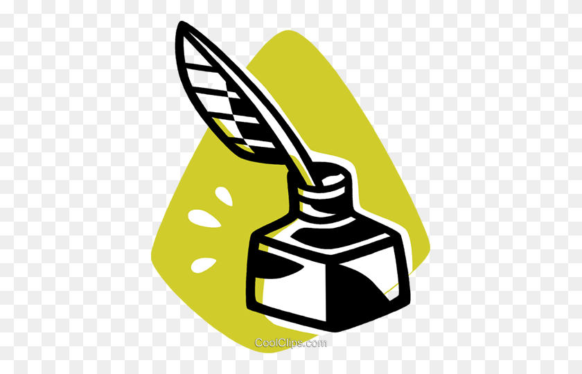 Ink Well And Quill Pen Royalty Free Vector Clip Art Illustration - Quill Clipart