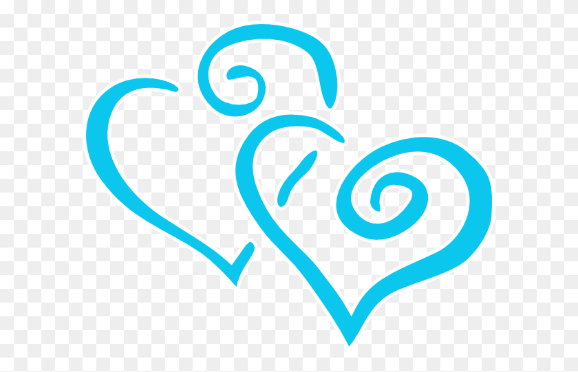 Intertwined Teal Hearts Clip Art - Two Hearts Clipart