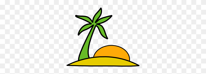 Island, Palm, And The Sun Clip Art Free Vector - Yellow Sun Clipart