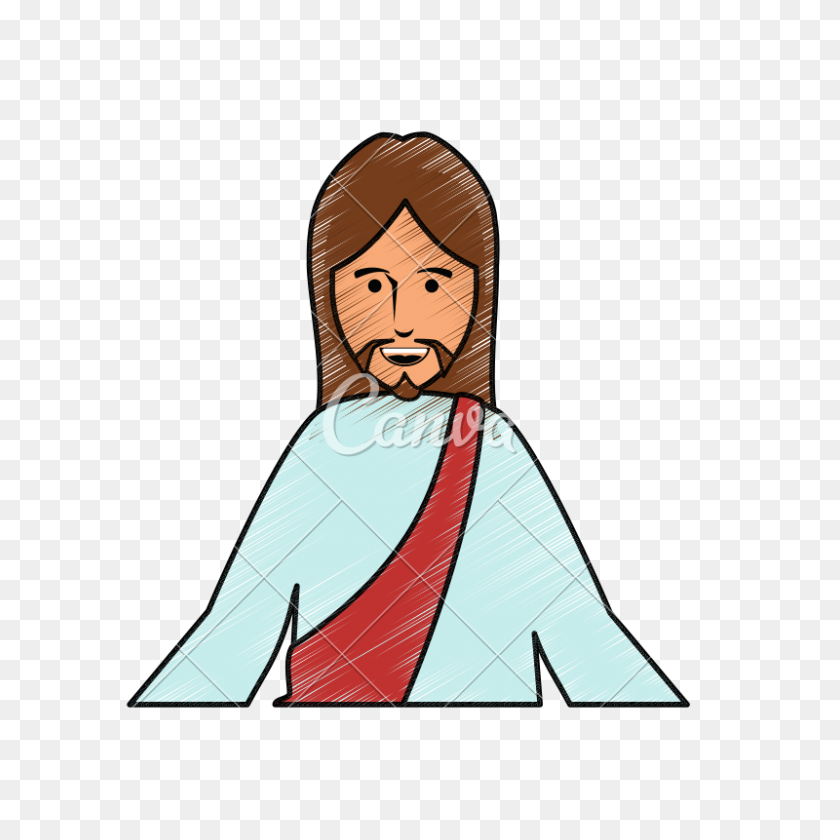 Jesus Christ Face Cartoon Vector - Jesus Face PNG