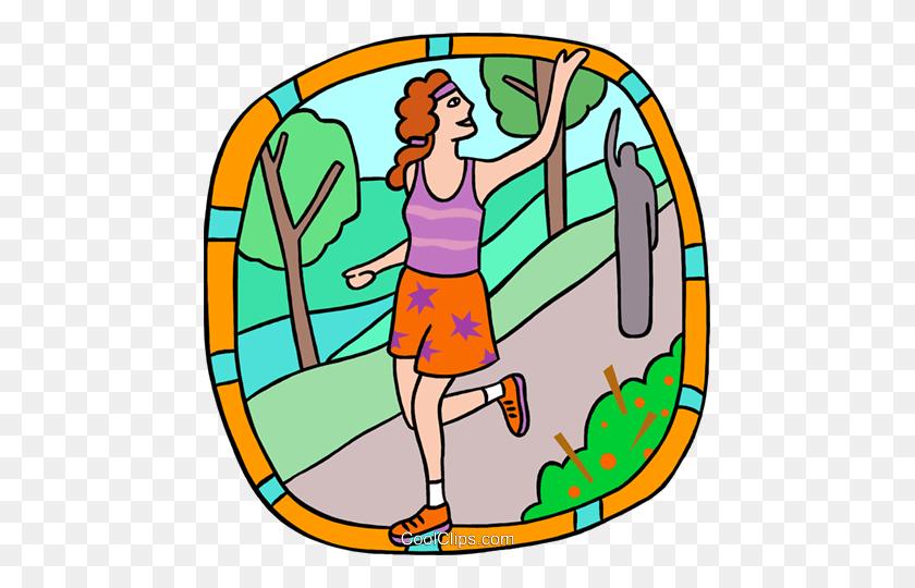 Jogger Waving Goodbye Royalty Free Vector Clip Art Illustration - Reading Is Fun Clipart